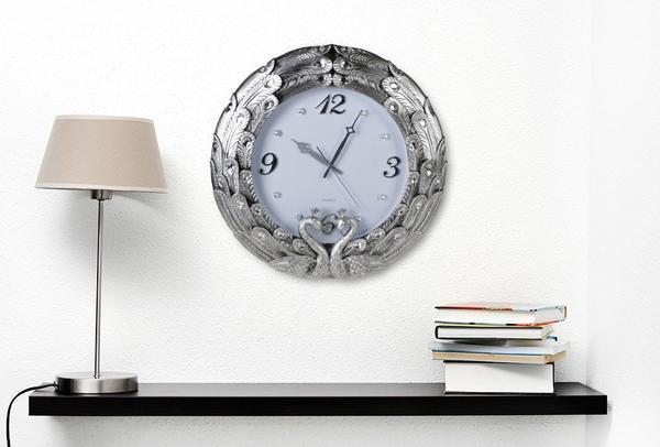 Çınar Rüya Kuğu Tasarım Duvar Saati | Gümüş & Pastel Mor | 6552