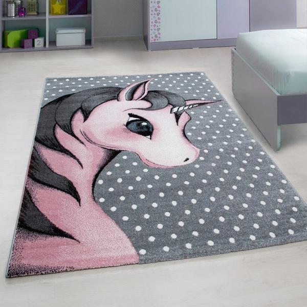 Ayyıldız Kids Sevimli Unicorn Çocuk Halısı | 100% PP Frise 11mm 2500 gr | Pembe | 590-Pink