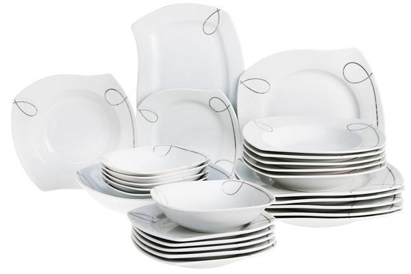 Beyazca Tuana 26 Parça Porselen Yemek Takımı | 6 Kişilik