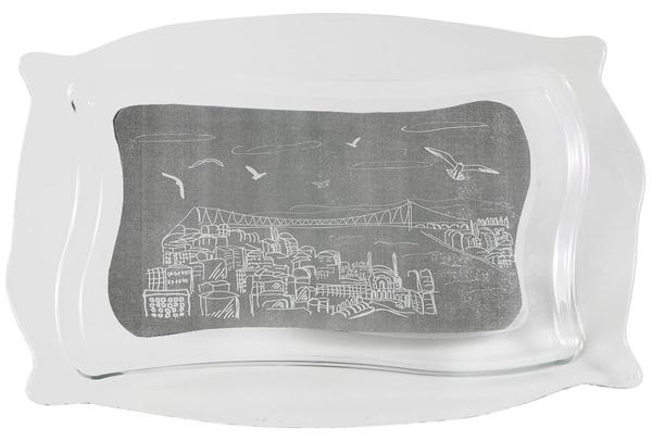 "Paşabahçe Cam Servis Tabaği ""Meet me in Istanbul"" 34x22 cm | 10488-IST"