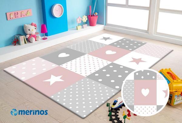 Merinos Pastel Kids Yıldız Çocuk Odası Halısı | 20339-255-Pink