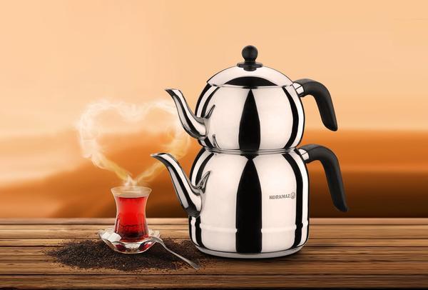 Korkmaz Retro Çaydanlık Takımı Siyah Kulplu | İndüksiyon | A194
