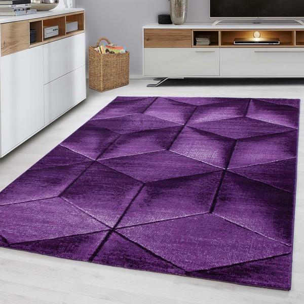 Ayyildiz Teppiche | Parma | Teppich | Lila | Karo-Design | 100% PP Heatset  | Höhe 12mm | 1,9 kg | Wohnzimmer | Schlafzimmer | Arbeitszimmer | ...