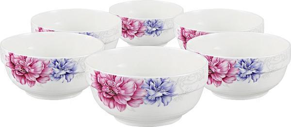 Bavary 6 Parça Fine Porselen Çorba Kasesi Çiçek Desenli | Beyaz | 6 Kişilik