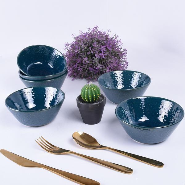 Luster Mavi Hitit Çorba Kasesi 14 Cm 6 Adet | Keramika