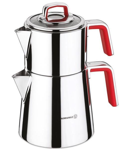 Korkmaz Vertex Çaydanlık Paslanmaz Çelik 3.1 Litre | İndüksiyon | Kırmızı | A081-01