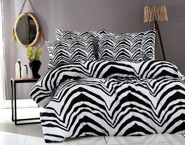 Zebra Çift Kişilik Nevresim Takımı Siyah Beyaz