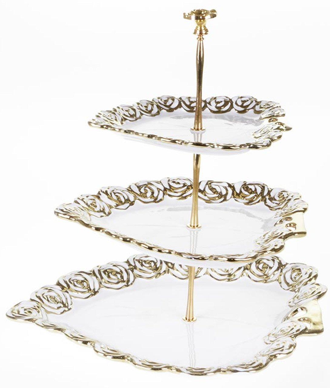 Cinar Etagere 3 Stufig Porzellan / Keramik Gold | bedibuy
