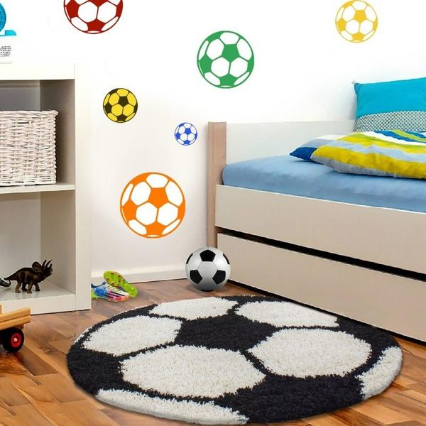 Ayyıldız Fun Futbol Topu Desenli Halı | Siyah & Beyaz | 6001-Black