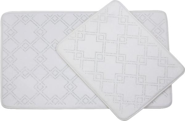 Almina Elegance Parlak Taşlı Kare Desen Banyo Paspas Seti 2 Parça Midi | Beyaz