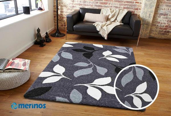 Merinos Casa Yaprak Desenli Halı   Gri   850-195-Grey