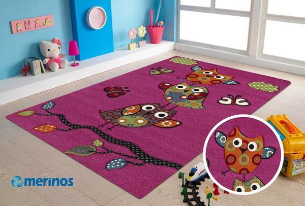Merinos Halı Diamond Kids Sevimli Baykuşlar Çocuk Halısı | Pembe | 793-55-Pink