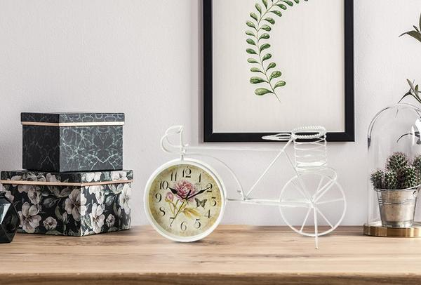 Elite Paris Bisiklet Tasarımlı Masa Saati | Beyaz & Bej | ALY-138