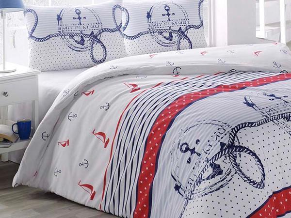 Çapa Tek Kişilik Uyku Seti Kırmızı Beyaz