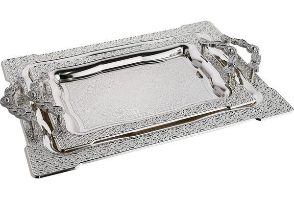 Bavary İkili Elegance Tepsi Yüksek Kalite | Gümüş | By-2243l-mh53s