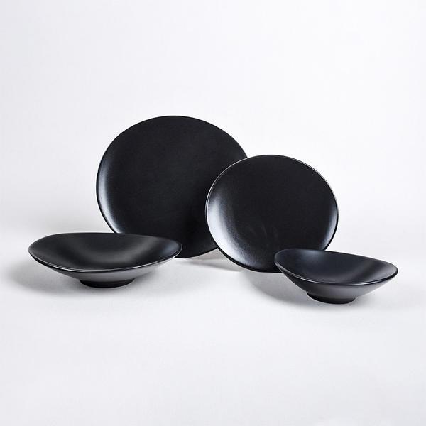 Keramika | Oval Mat Siyah Yemek Takımı 24 Parça 6 Kişilik