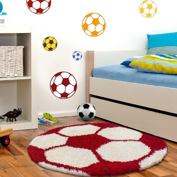 Ayyıldız Fun Futbol Topu Desenli Halı | Kırmızı & Beyaz | 6001-Red