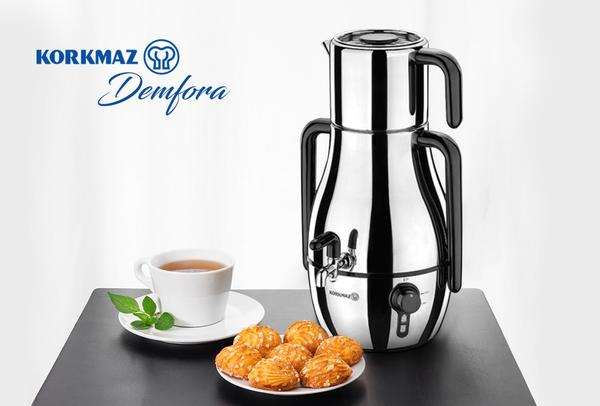 Korkmaz Demfora Elektrikli Çay Makinesi Semaver | İnox Siyah | A337