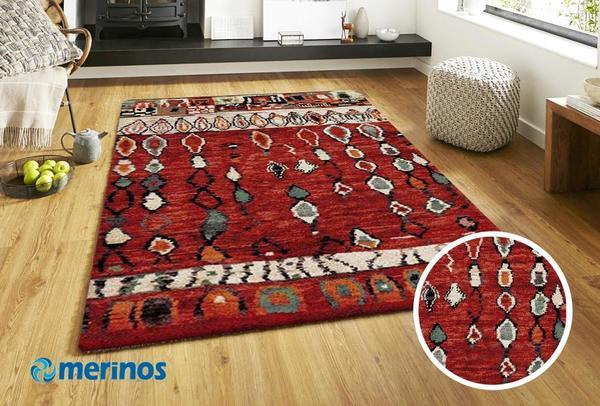 Merinos Marokko Oryantal Zincir Halı | Kırmızı | 834-75