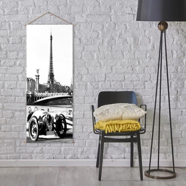 Askılı Kanvas Tablo - Siyah Beyaz Eyfel Kulesi