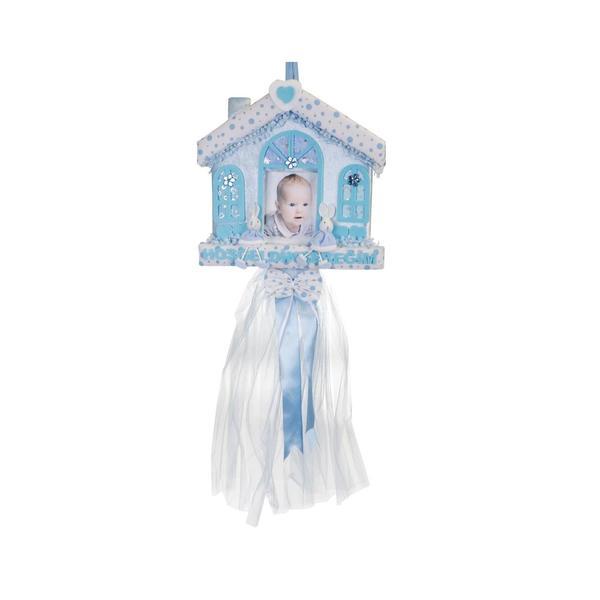 Hoşgeldin Bebeğim Yazılı Kapı Süsü - Mavi