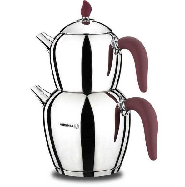 Korkmaz Şehnaz Çaydanlık Takımı | Paslanmaz Çelik | Bordo | A215-01