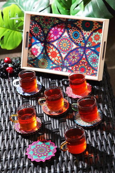Queen's Kitchen   Çini Desen Tepsili 13 Parça Çay Seti