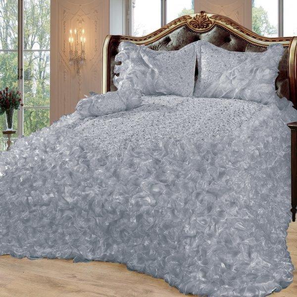 Dematex Gelincik Deluxe Saten Yatak Örtüsü Seti Çift Kişilik | Gri | 250x260cm