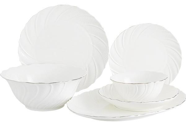 Duygu Sylvia 26 Parça Lüks Porselen Yemek Takımı | Yuvarlak | Beyaz | 6 Kişilik