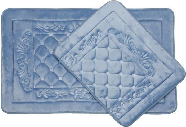 Almina Premium Kare Desen Banyo Paspas Seti 2 Parça Midi | Parlak Mavi