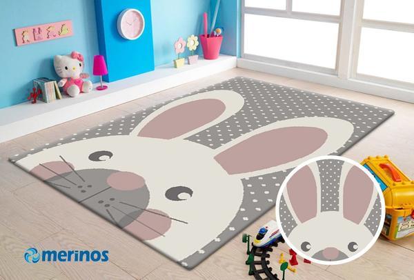 Merinos Pastel Kids Tavşan Desenli Çocuk Odası Halısı | 20341-295-Grey