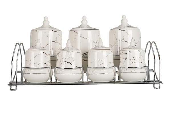 Hayal   15 Parça Baharatlık Seti   Mermer Desenli   Beyaz Gümüş   By-alzp-180429