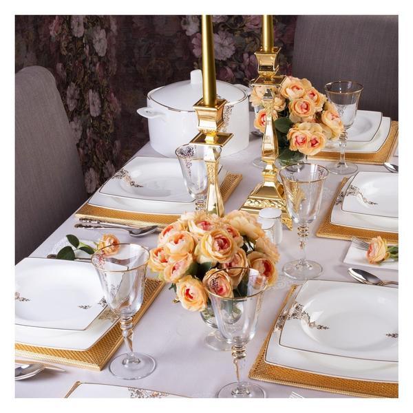 Taç Elegance Lace Bone Collection 85 Parça Yemek Takımı | Altın | 12 Kişilik | TAC-1467