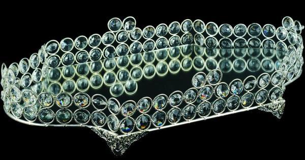 Dematex Lüks Kristal Dekoratif El Yapımı Servis Tabağı | Gümüş