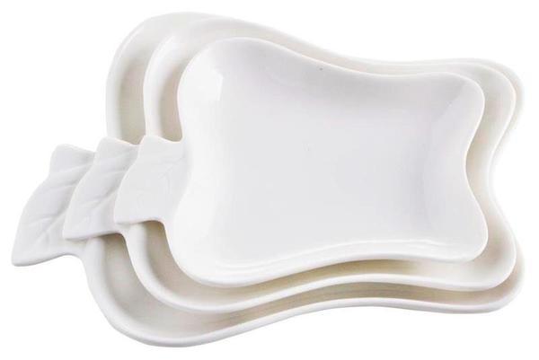 Duygu 3 Parça Servis Kase Seti Elma Form | Beyaz | DG-6012