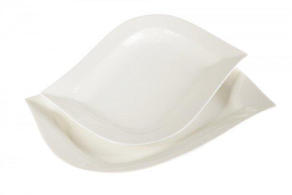 Almina 2 Parça Servis Kase Tabak Seti S-Form | Beyaz | AL-6996