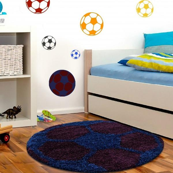 Ayyıldız Fun Futbol Topu Desenli Halı   Bordo & Mavi   6001-Navy