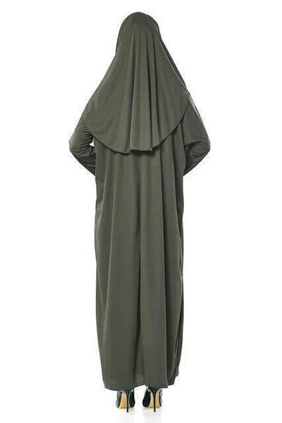 Tek Parça Namaz Elbisesi - Haki - 5015 & Seccade & Zikirmatik - Üçlü Takım