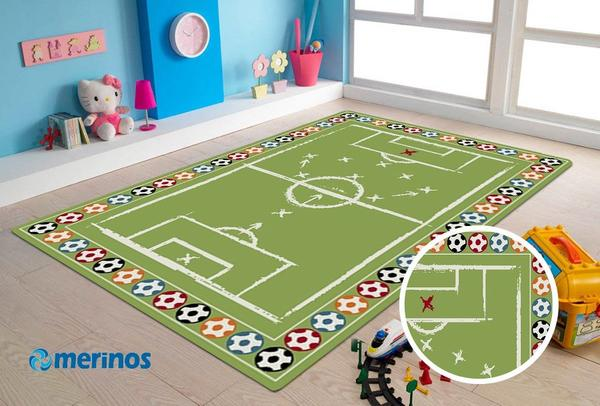 Merinos Sky Futbol Sahalı Çocuk Halısı | Yeşil | 25032-40-Green