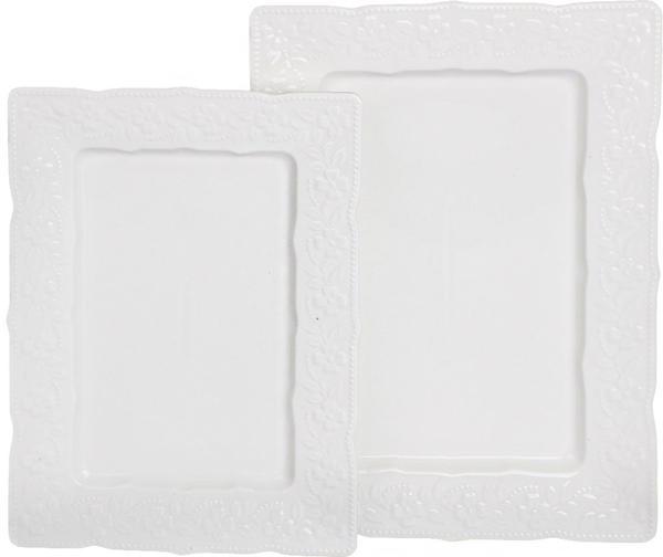 Almina 2 Parça Porselen Servis Tabağı | Beyaz | AL-0412