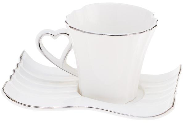 Dematex 6'lı Türk Kahve Fincanı Kalpli Kulp - Hediye kutulu   Beyaz