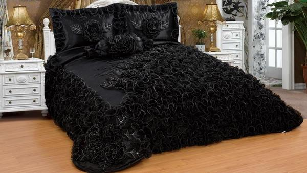 Saten Yatak Örtüsü Seti Çift Kişilik Siyah