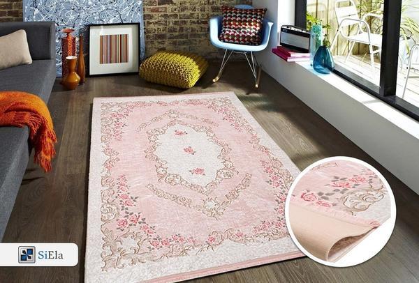 Waschbarer Teppich Latex 100/% Polyester Hali Pink NEU