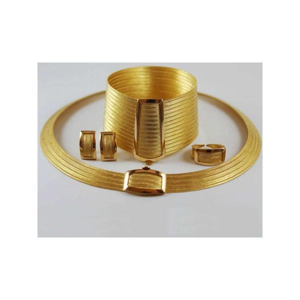 925 Ayar Gümüş Üzeri Taşsız Altın Kaplama Trabzon Hasır Set