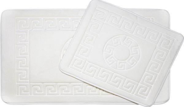 Vintage Premium Banyo Paspas Seti 2 Parça Beyaz