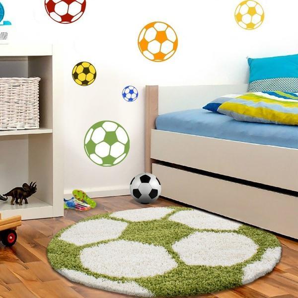 Ayyıldız Fun Futbol Topu Desenli Halı | Yeşil & Beyaz | 6001-Green