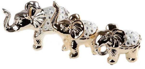 Almina 3'lü Dekoratif Fil Biblosu   Altın   Al-0993-G