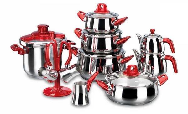 Korkmaz Rosa Hyper Mutfak Çeyiz Seti | 18 Parça | Kırmızı | A1727