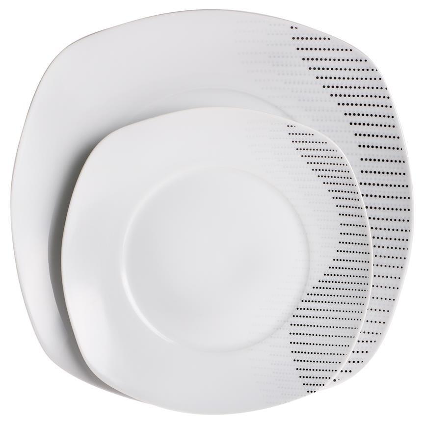 beyazca beril porzellan ess set 86 teilig mit grauen punkten f r 12 personen i hochzeit. Black Bedroom Furniture Sets. Home Design Ideas