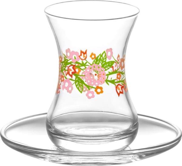 LAV 6'lı İlkbahar Çay Bardağı Takımı 12 Parça Çiçek   DMT303-ASN274-6